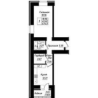 1 комнатная квартира в ЖК Будапешт 47.43 м², фото 1