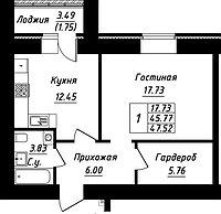 1 комнатная квартира в ЖК Будапешт 47.52 м², фото 1