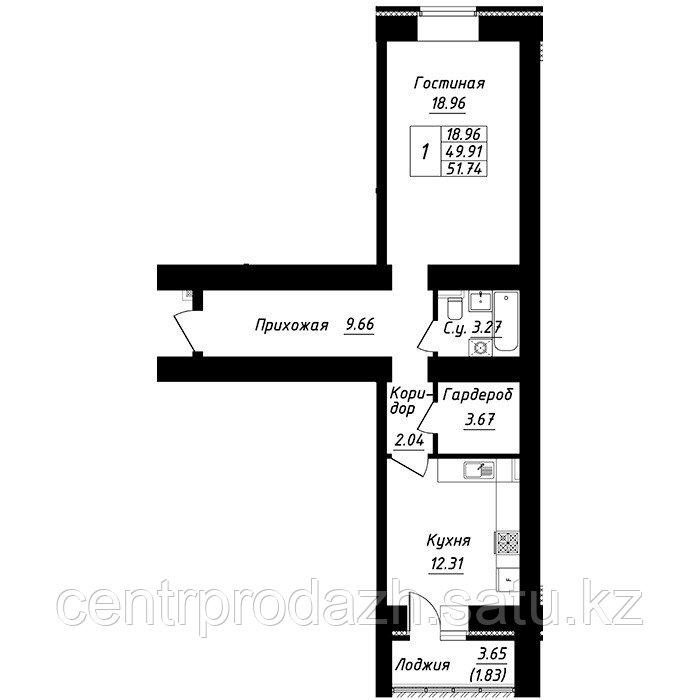 1 комнатная квартира в ЖК Будапешт 51.74 м²