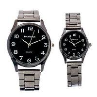 Часы наручные, 'BOLINGDUN', парный набор для нее и для него, темный хром