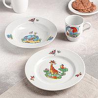 """Набор посуды """"Зоопарк"""", 3 предмета: тарелка мелкая 20 см, тарелка глубокая 20 см, кружка 210 мл"""