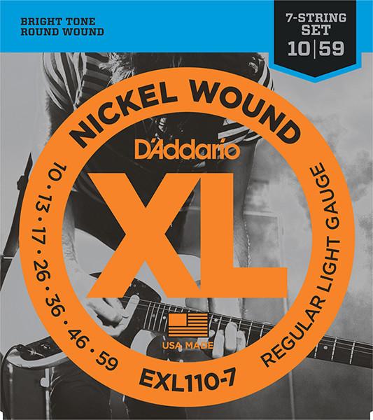 Струны для 7-струнной электрогитары Regular Light 7-string 10-59 D`Addario EXL110-7 XL NICKEL WOUND