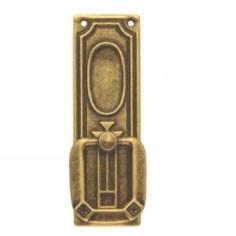 Ручка-кольцо, *Jugendstil* 32х85мм, латунь пат., прямоугл. накл., винт и гвоздь,