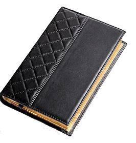 Ежедневник недатированный А5+, с золотым срезом, натуральная кожа CAPITONE Черный