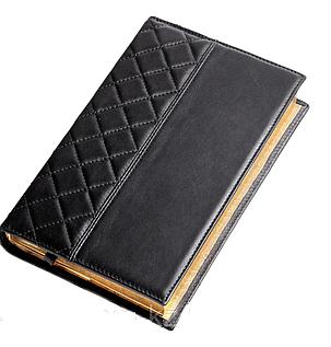 Ежедневник недатированный А5+, с золотым срезом, натуральная кожа CAPITONE Черный, фото 2