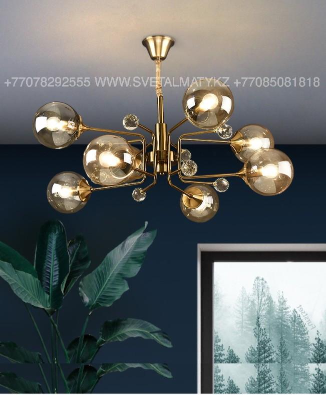 Люстра на 8 ламп в цвете Медь