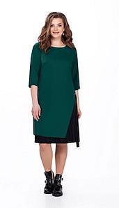 Платье TEZA-129/9, изумруд + черный, 52
