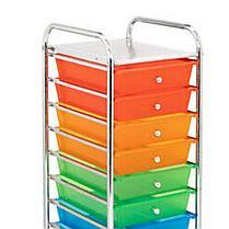Комод металлический из 10-ти пластмассовых цветных полок на колесиках FLF002-10 (ЕР -7525S), фото 3