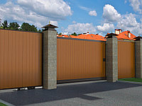 Откатные ворота в алюминиевой раме с заполнением сэндвич-панелями SLG-A