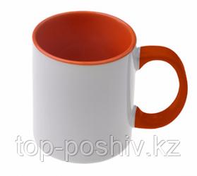 Кружка цветная для сублимации (цветная внутри и ручка оранжевая )