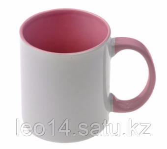 Кружка цветная для сублимации (цветная внутри и ручка розовая )