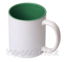 Кружка цветная для сублимации (цветная внутри темно-зеленая )