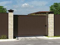 Откатные ворота стандартных размеров в алюминиевой раме с заполнением сэндвич-панелями SLG-A
