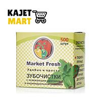 Market Fresh Зубочистки деревянные Мята в коробке 500 ШТ