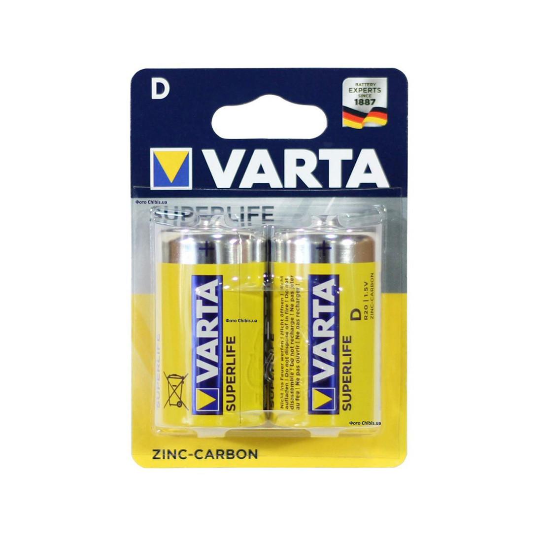Батарейка VARTA Superlife Mono 1.5V - R20P/D (2 шт) в пленке (2014)