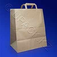 Россия Пакет-сумка бумажная прочная 43х32+17см крафт ручки плоские 80гр/м2