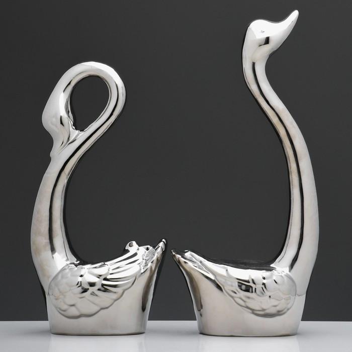 "Набор сувениров ""Кай и Герда"", лебеди, 2 шт, булат, серебро, 37 см"