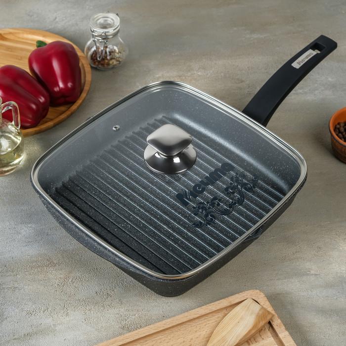 Сковорода-гриль «Гранит», квадратная, 28×28 см, пластиковая ручка, стеклянная крышка, антипригарное покрытие