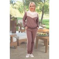 Костюм женский (свитшот, брюки) 'Черри', цвет кофейный, размер 48