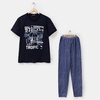 Костюм мужской (футболка, брюки) 'Фреш', цвет тёмно-синий, размер 56