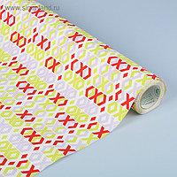 Бумага упаковочная крафт в рулоне, бело-сиренево-красный, 0,5 х 10 м