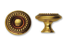 Ручка-кнопка, *Louis XVI* D30мм, латунь полир. с коричн. пат., винт