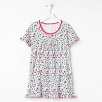 Сорочка для девочки, цвет малиновый, принт бантики, рост 122 см (7 лет)