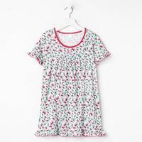 Сорочка для девочки, цвет малиновый, принт бантики, рост 128 см (8 лет)