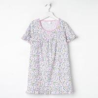 Сорочка для девочки, цвет светло-розовый, принт цветы, рост 128 см (8 лет)