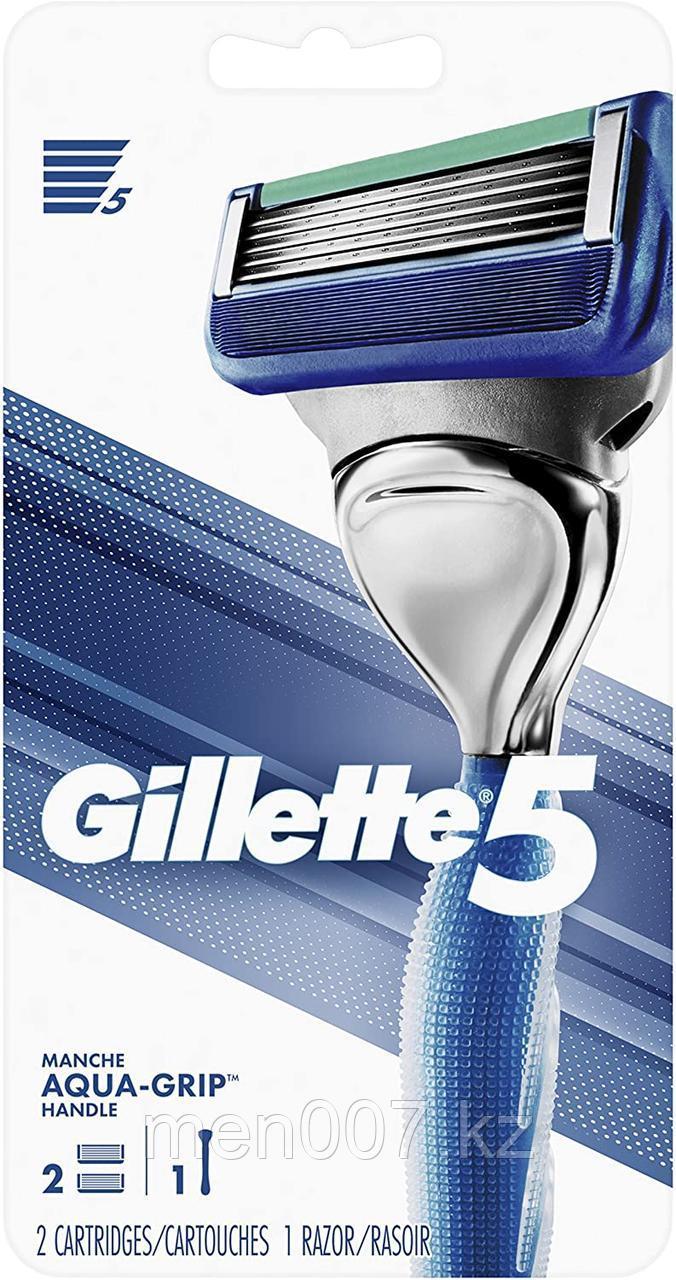 Gillette 5 Fusion Aqua-Grip Handle с двумя запасными картриджами