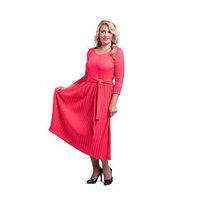 Платье женское с плиссе, размер 56, цвет коралловый