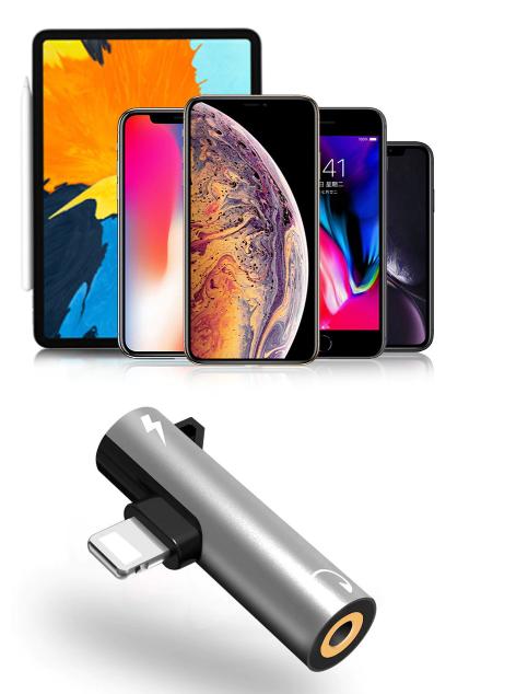 Переходник 2 в 1 для Iphone (зарядка + наушники) Lightning to 3.5 mm Headphone jack + Charger, модель AU04 - фото 5