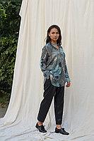Зеленая шелковая блуза с цветочным принтом от КIARA