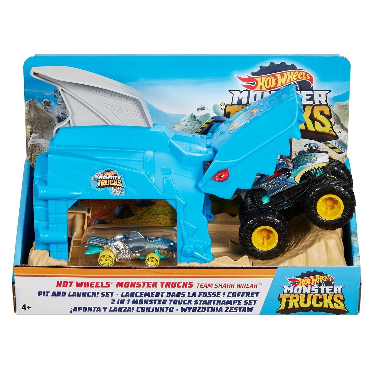 "Hot Wheels Игровой набор ""Monster Trucks: Выполняй трюки и запускай Команда Shark Wreak, Хот Вилс"