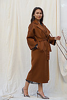 Теплое шерстяное пальто табачного цвета от Marco Moretti 44