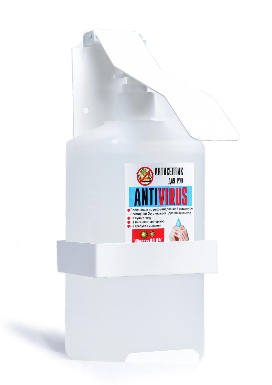 «Антисептик для рук «ANTIVIRUS» от производителя. Объём 1 литр. Еврофлакон с помповым дозатором. - фото 3
