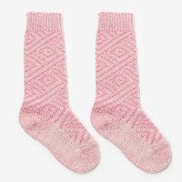 Гольфы детские шерстяные, фактурная вязка, цвет розовый, размер 20-22