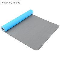 Коврик для йоги TORRES Comfort 4, TPE, 173 × 61 × 4 мм, нескользящее покрытие, цвет синий/серый