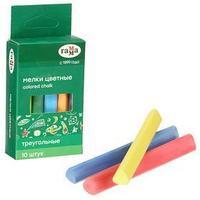Мелки для рисования 'Гамма', цветные, 10 штук, мягкие, треугольная форма, картонная коробка