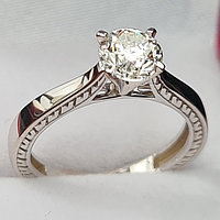 Сертификат GIA 0,90Сt SI1/M  Good-Cut Золотое кольцо с бриллиантом