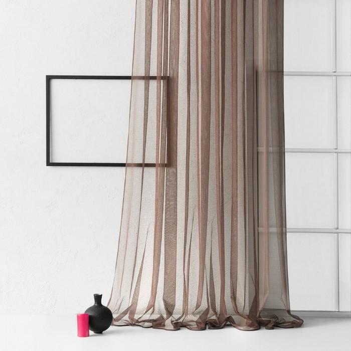 Портьера «Стори»,  размер 300 × 270 см, цвет коричневый