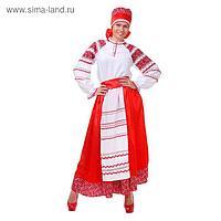 Русский женский костюм, блузка, юбка с фартуком, сорока, цвет красный, р-р 44, рост 172 см