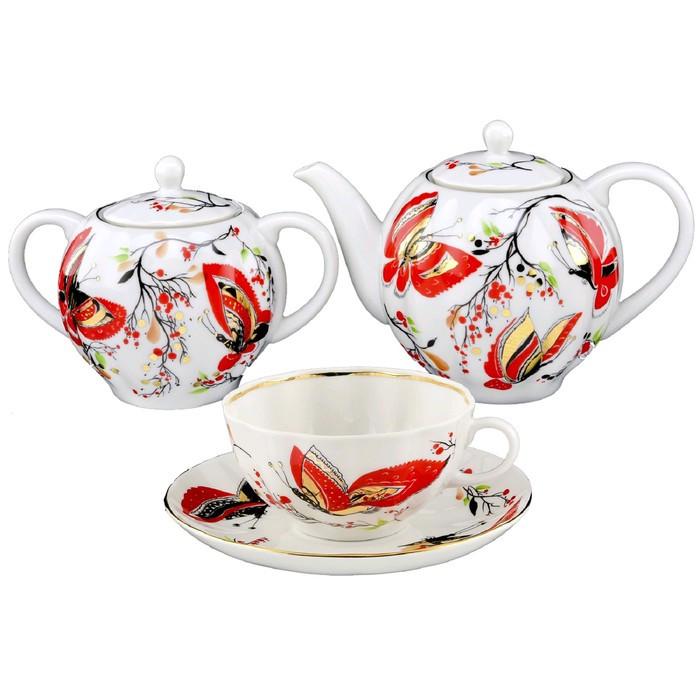 Чайный сервиз «Бабочки», на 6 персон, 20 предметов