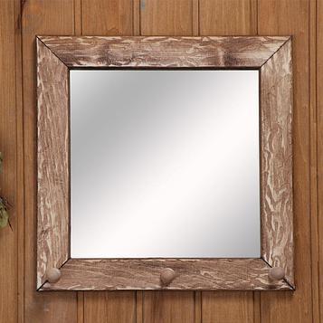 Зеркало-вешалка, 3 крючка, состаренное, 30×30см