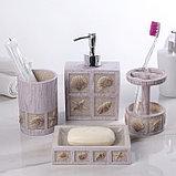 Набор аксессуаров для ванной комнаты «Море», 4 предмета (дозатор 300 мл, мыльница, 2 стакана), фото 2