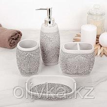 Набор аксессуаров для ванной комнаты «Роспись», 4 предмета (дозатор 300 мл, мыльница, 2 стакана)