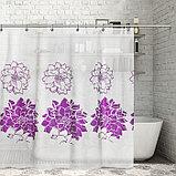 Штора для ванной комнаты Доляна «Пионы», 180×180 см, EVA, фото 2