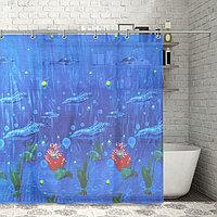Штора для ванной комнаты Доляна «Дельфины», 180×180 см, EVA