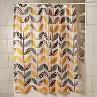 Штора для ванной комнаты Доляна «Листочки», 180×180 см, EVA