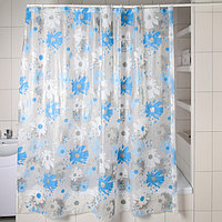 Штора для ванной комнаты Доляна «Васильки», 180×180 см, EVA